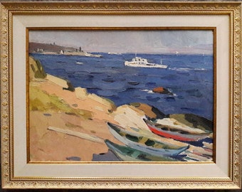 Original Oil Painting, Ukrainian artist Kirichek, Soviet art, Vintage, Seascape