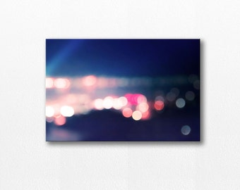 abstract canvas art bokeh photography canvas print 12x18 20x30 fine art photography canvas wrap gallery navy pink city lights large canvas