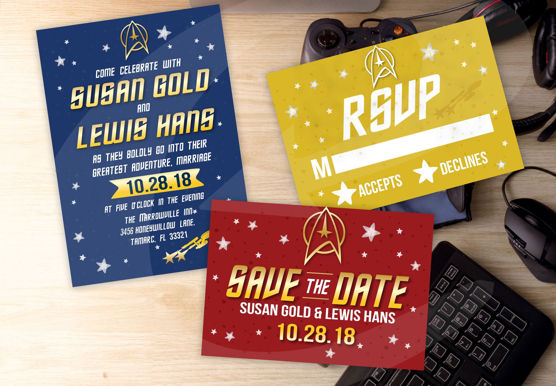 Star Trek Themed Wedding Invitation RSVP & Save the Date DYI