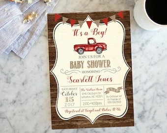 Baby Shower Red Vintage Truck Rustic Wood Baby Boy Farm Country Shower Invite, Invitation with Antique Truck, Printable or Printed #1045