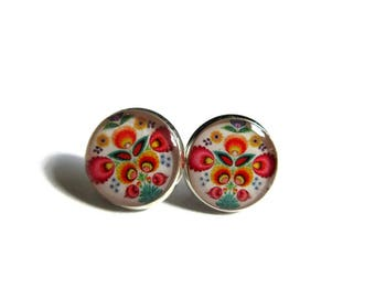 MEXICAN ART STUD earrings - Boho studs - Mexican Folk Art - Mexican Jewelry - Mexican earrings - Mexican Ornamental - post earrings