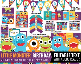 Little Monster Birthday Decorations Package. Printable Kids Birthday Party Decor. Funny First Birthday. Editable Digital Download