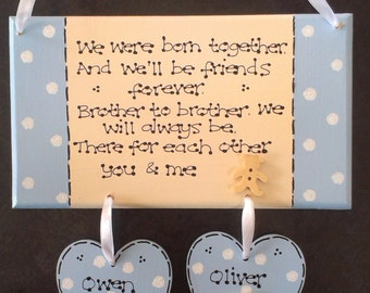Personalised New Twins Baby Boys Brothers Gift Plaque, Christening Gift, New Babies, Keepsake Gift, Nursery Decor, Together, Custom Sign