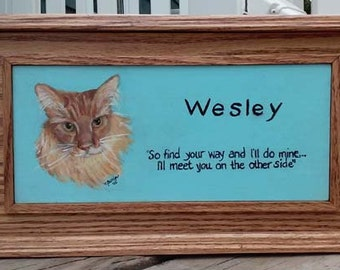 Custom Oak Pet Memorial, Pet Urn Box, Pet Urn Memorial Box (double sized),oak pet urn,cherry pet urn,hand painted portrait on pet urn,