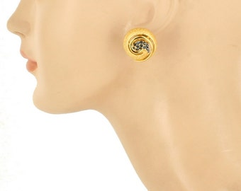 "Vintage Trifari Mod Organic Gold Tone & Blue Rhinestone Pin/Earrings Set 1.5"""