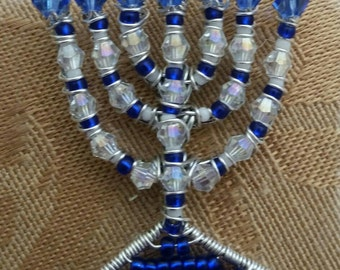 Blue and Sliver Menorah Charm
