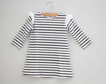 Girls Striped Dress, Peter Pan Collar Dress, Holiday Dress, Organic Dress, Long Sleeve Dress, Baby Dress, Toddler Dress, Kids Dress, black