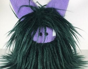 Stuffed Monster - Fuzzling Monster Plushie - Dark Green Monster Doll - Soft Toy Plush Monster - Monster Softie - Handmade Gift
