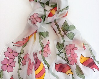 Red and yellow striped birds hand painted silk scarf.  Birds and flowers silk scarf.  Stripe Birds Scarf