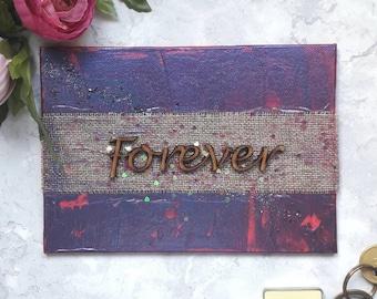 Forever Anniversary gift idea, black purple pink, acrylic motivational art, modern home decor, rustic wall decor, inspirational mixed media