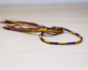 Friendship Bracelet Purple and Gold Embroidery Threads Stocking Stuffer
