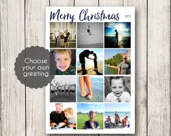 Instagram Cards, Holiday Cards, Christmas Cards, Photo Collage Cards with Custom Greeting  5 X 7 (Digital File or Printed Cards)