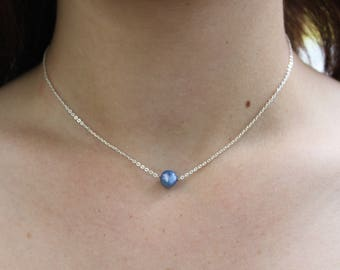 Blue Freshwater Pearl Minimalist Necklace