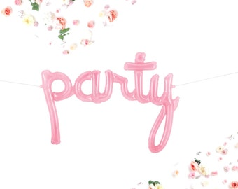 PARTY Balloons, Script, Silver or Pink Letter Balloons, Banner, Garland, Birthday, Photo