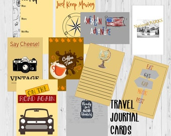 Journal Cards for Traveling in the United States, Pocket Cards, Project Life Cards, Large Journal Cards, Printable Journal Cards, Scrapbook