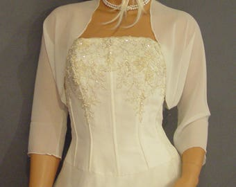 Chiffon bolero jacket 3/4 sleeve shrug wedding wrap bridal cover up CBA201 AVAILABLE IN ivory and 6 other colors. Small - Plus size!