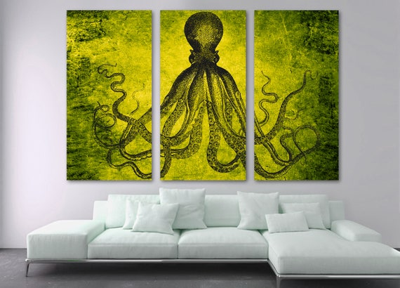 Lord Bodner Octopus Triptych Canvas Print Wall Art