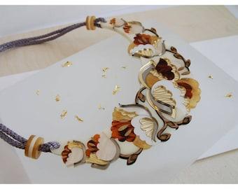 Nouveau Flower Statement Bib Necklace: Tortoiseshell. Laser Cut Acrylic Perspex. Marbled Floral Deco Retro Cord. Gold Cream Glitter Marble