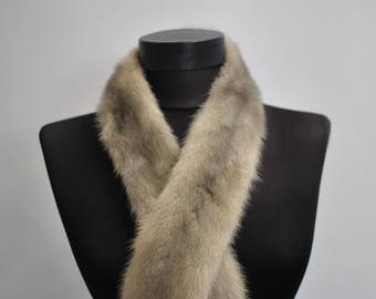 Vintage SILVER MINK FUR collar , winter fur collar .................(051)