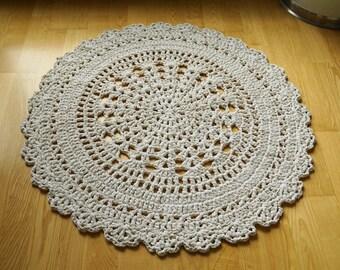 Natural white crochet doily rug