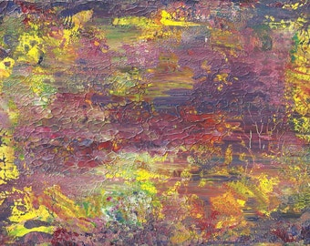 Purple Fields of Peace Abstract Acrylic Original Painting in White Mat