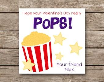 PRINTABLE - Valentine's Day Tag - Popcorn Valentine - Popcorn Tag - Popcorn Sticker - Favor Tag - Sticker - Gift Tag - Custom - Personalized