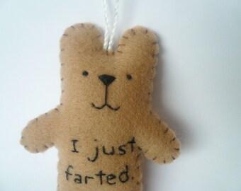 Ornement de Noël drôle feutre ours - j'ai juste pété - fait à la main personnalisé décoration