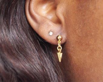 minimalistic triangle earrings gold