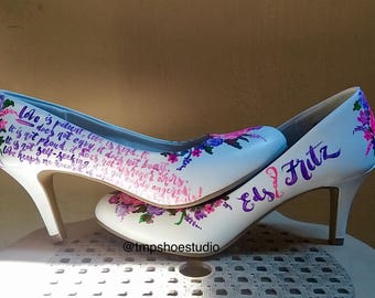 Floral x Typography Wedding Shoes (custom handpainted)