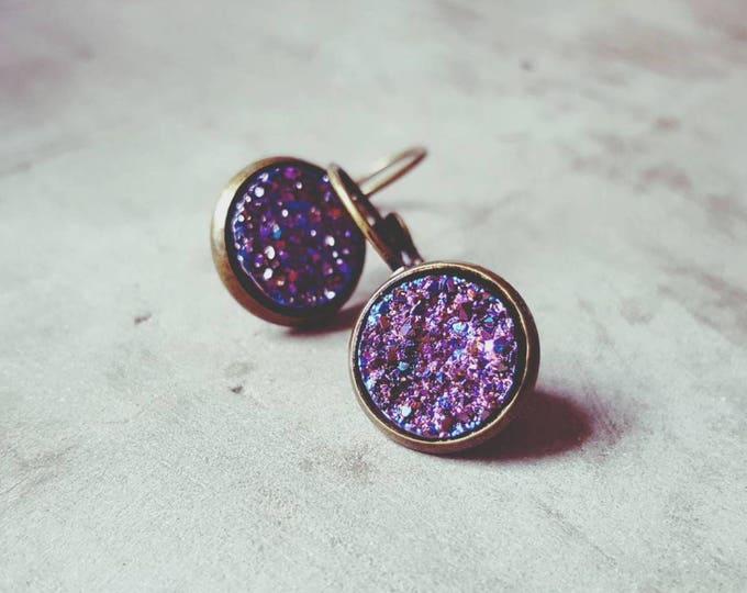 Dangle drop violet galaxy earrings on antique bronze