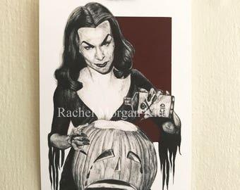 Vampira, Old Hollywood, Vintage, Art Print, Giclee, 1950s, Pinup Girl, Halloween