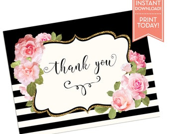 Thank You Card - Bridal Shower Thank You Cards - Baby Shower Thank You Cards - Wedding - Black and White Striped - Any Occasion - LR1089