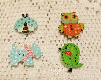 Four. Different Refrigerator Magnets Bird,Dog,0wl,And Lady Bug