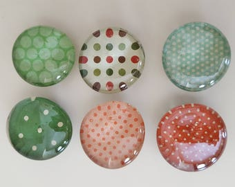 Glass Pebble Magnets Set of 6 Dots