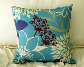 Avora Modern Floral Pillow  / turquoise and navy pillow / modern throw pillow / blue square pillow / abstract floral pillow / minimalist