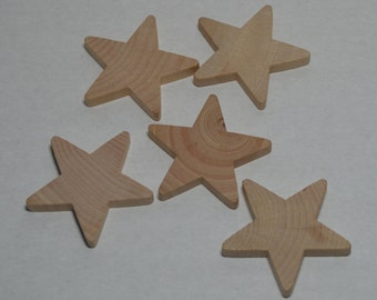 """2"""" Wood Stars - Set of 5 Unfinished Wood Star Cutouts - 1/4"""" Thick Wooden Star"""