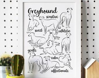 Illustrated Greyhound Breed Traits Print