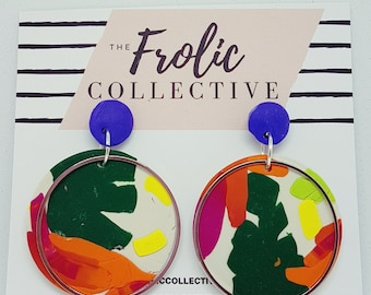 Circle Dangles / Polymer Clay / Tropical Vibes 210