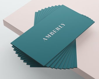 Green and Pink Business Card Design, Premade Business Card Template, Calling Card, Downloadable, Printable, Custom, Modern, Elegant