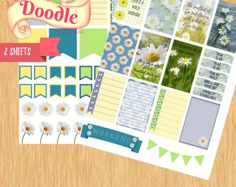 Wild Flower Stickers|Big Happy Planner Stickers| Happy Planner Stickers| Two Sheet Stickers| Create365 Stickers| MAMBI Stickers