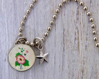 Vintage Flower Charm, Kids Necklace, Childrens Jewelry, Girls Necklaces, Girls Bracelets, Interchangeable jewelry, Kids Bracelet.