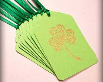 St. Patrick's Day gold Clover shamrock Tag Set 10 Blank holiday gift present tag green