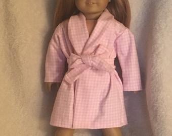 Pink doll bathrobe, fits like American Girl style doll