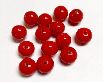 Vintage Japanese Glass Rounds in Cherry Red - 14 Pieces - #665