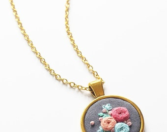 Flower Hand Embroidered Pendant Necklace Gold Necklace Jewelry Gray Blue Pink Floral Necklace Statement Pendant Gift Under 30 Gift for Her