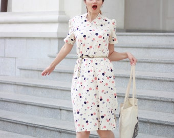 Women fashion vintage dress Splash creamy pattern Colorful dots pattern dress Bubble dress Beige dress from Paris 70s (S/M)