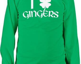 I Love Gingers with 4 Leaf Clover, St. Patrick's Day, Irish Pride Men's Long Sleeve Shirt, NOFO_01263