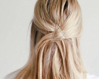 Triangle Hair Clip, Metal Hair Clip, Minimalist Hair Clip, Minimalist Hair Accessory, Geometric Hair Clip, Hair Barrette, Diamond Hair Clip