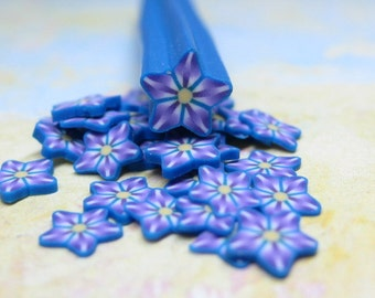 Kaleidoscope star polymer clay cane flower purple blue yellow 1pcs for miniature foods decoden and nail art supplies