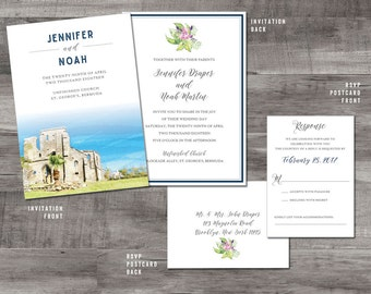 Unfinished Church Bermuda - Watercolor Wedding Invitation - Bermuda wedding invitation
